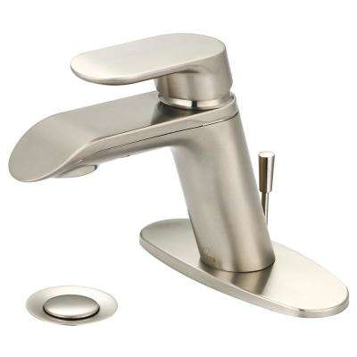i1 Single Hole Single-Handle Bathroom Faucet with Deck Plate in Brushed Nickel