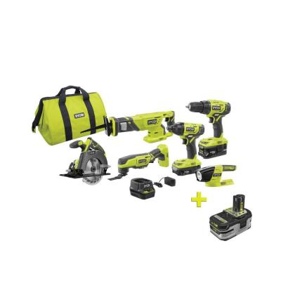 18-Volt ONE+ Lithium-ion Cordless 6-Tool Combo Kit with Free 18-Volt ONE+ 4.0 Ah LITHIUM+ HP High Capacity Battery