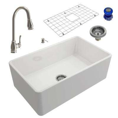 Classico All-in-One Farmhouse Fireclay 30 in. Single Bowl Kitchen Sink with Belsena Brushed Nickel Faucet and Soap Disp