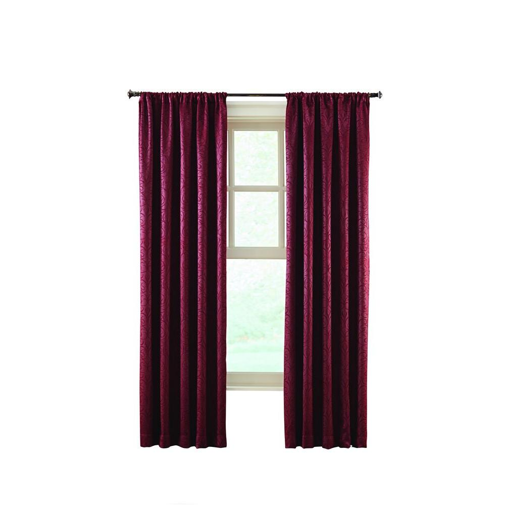 Home Decorators Collection Burgundy Stylized Scroll Embossed Darkening Curtain 50 In W X 95