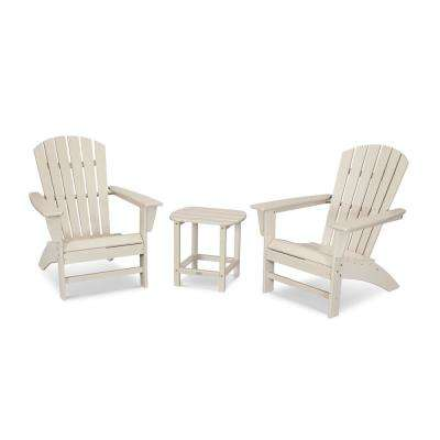 Grant Park Sand 3-Piece Plastic Traditional Curveback Adirondack Patio Conversation Set