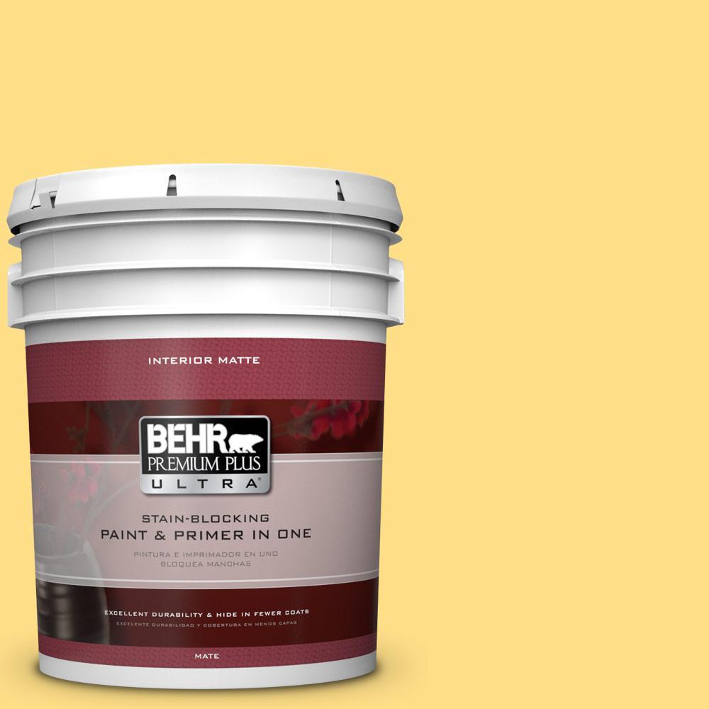 BEHR Premium Plus Ultra 5 gal. #360B-4 Sweet Chamomile Flat/Matte Interior Paint