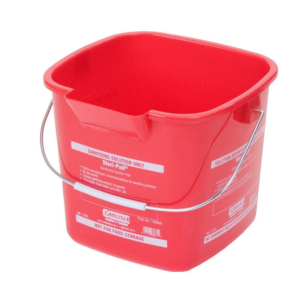 Carlisle 3 qt. Red Steri-Pail for Sanitizing Solutions (12-Case)