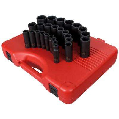 1/2 in. Drive Deep Metric Impact Socket Set (26-Piece)