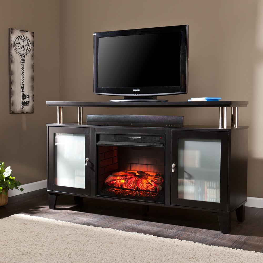 Fulton 60 in. W Infrared Media Electric Fireplace in Black