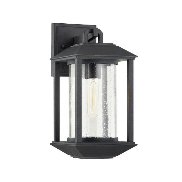 Mccarthy 1-Light Weathered Graphite Wall Sconce with Clear Seeded Glass Shade
