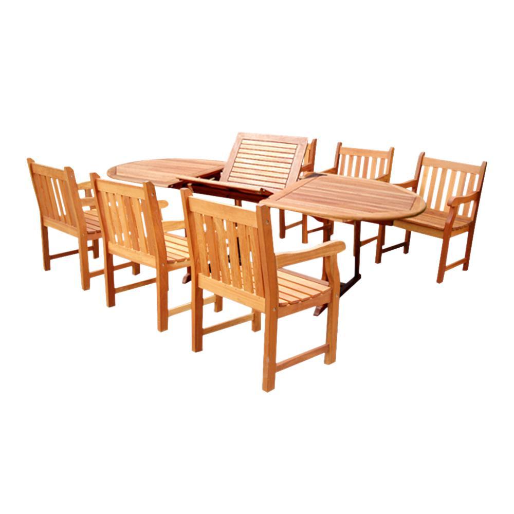 Vifah Malibu 7 Piece Wood Oval Outdoor Dining Set