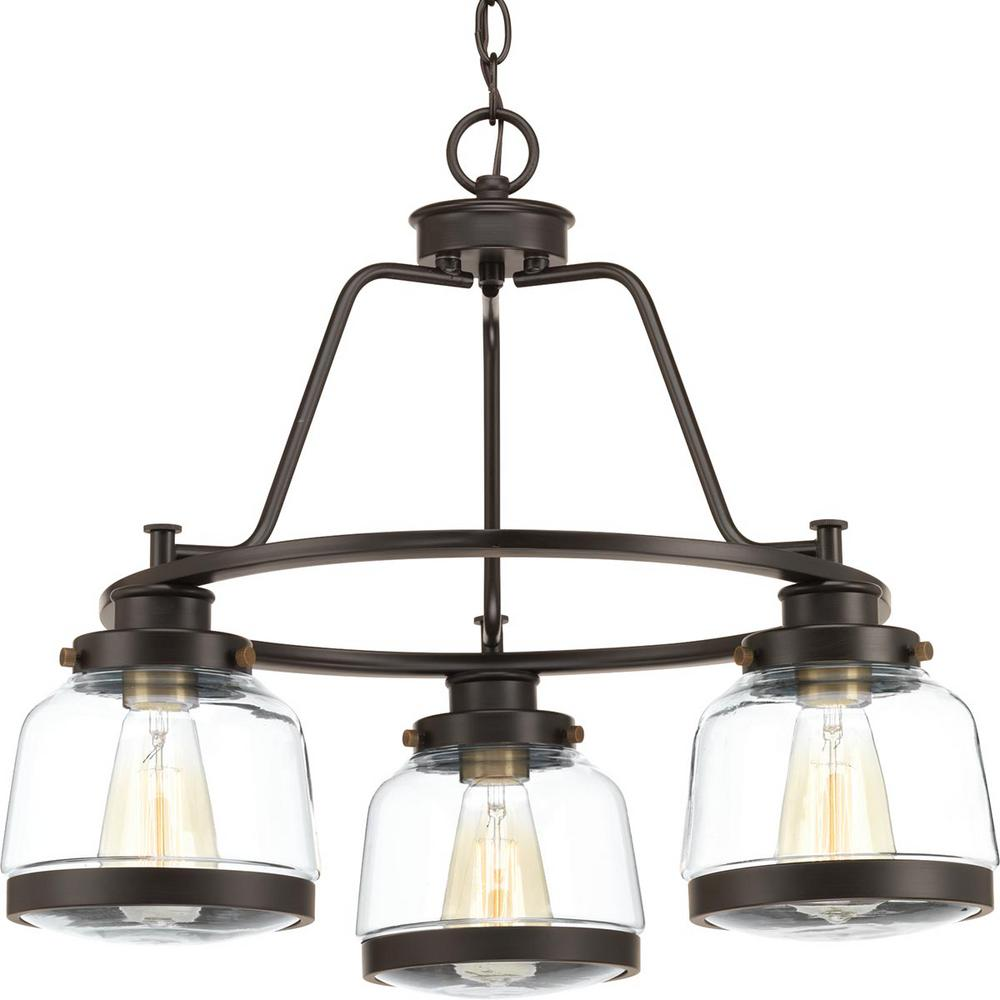 Progress Lighting Judson Collection 3 Light Antique Bronze Chandelier With Shade