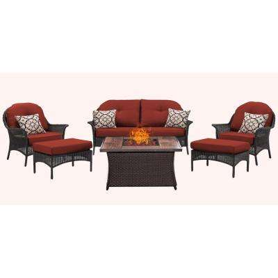 San Marino 6-Piece Metal Patio Seating Set with Wood Grain-Top Fire Pit with Navy Blue Cushions
