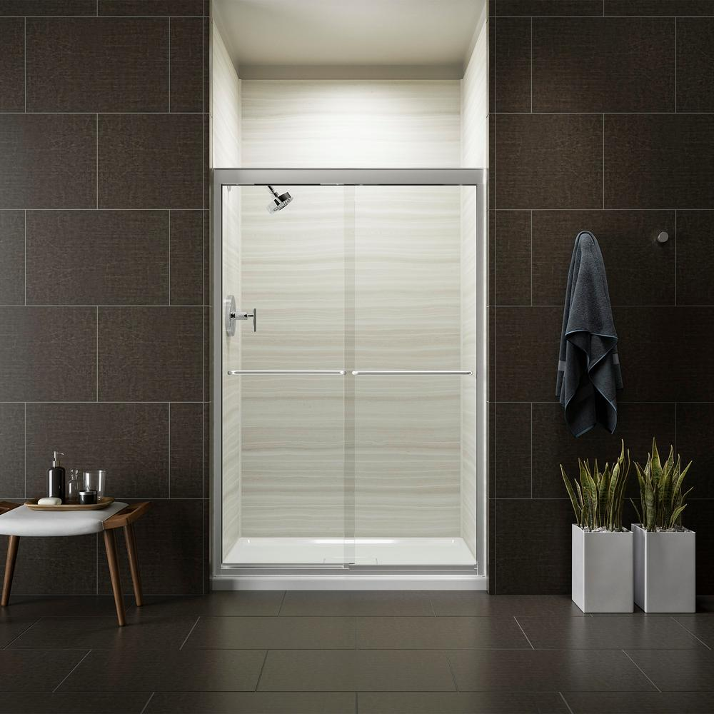 KOHLER Fluence 47-5/8 in. x 70-5/16 in. Heavy Semi-Frameless Sliding Shower Door in Bright Polished Silver with Handle