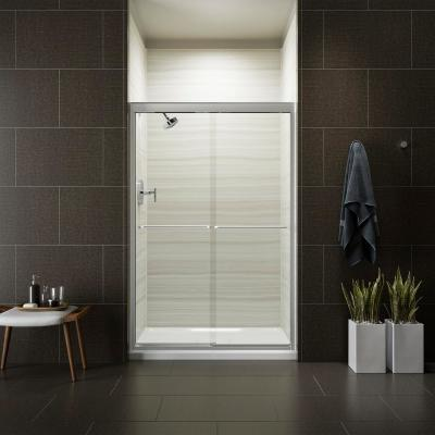 Fluence 47-5/8 in. x 70-5/16 in. Heavy Semi-Frameless Sliding Shower Door in Bright Polished Silver with Handle