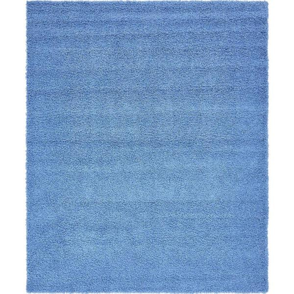 Solid Shag Periwinkle Blue 8 ft. x 10 ft. Area Rug