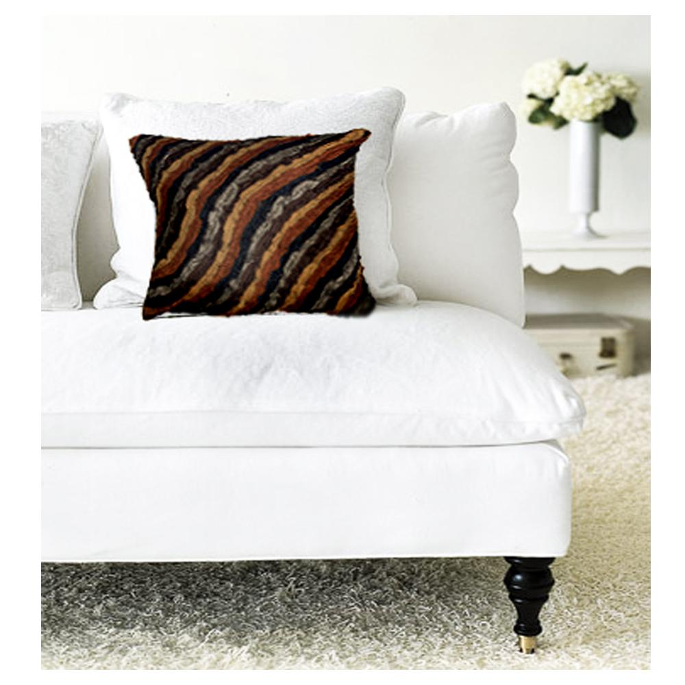 LR Resources Contemporary Damasi Chocolate 18 in. x 18 in. Square Decorative Accent Pillow