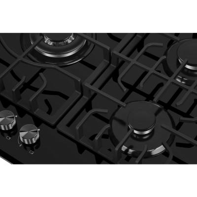 30 in. Gas Stove Cooktop with 5 Italy SABAF Burners in Black Tempered Glass