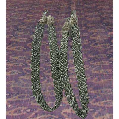 0.8 in. x 0.1 in. x 3.4 in. Pair of Metallic Sage Green Rope Curtain Tiebacks
