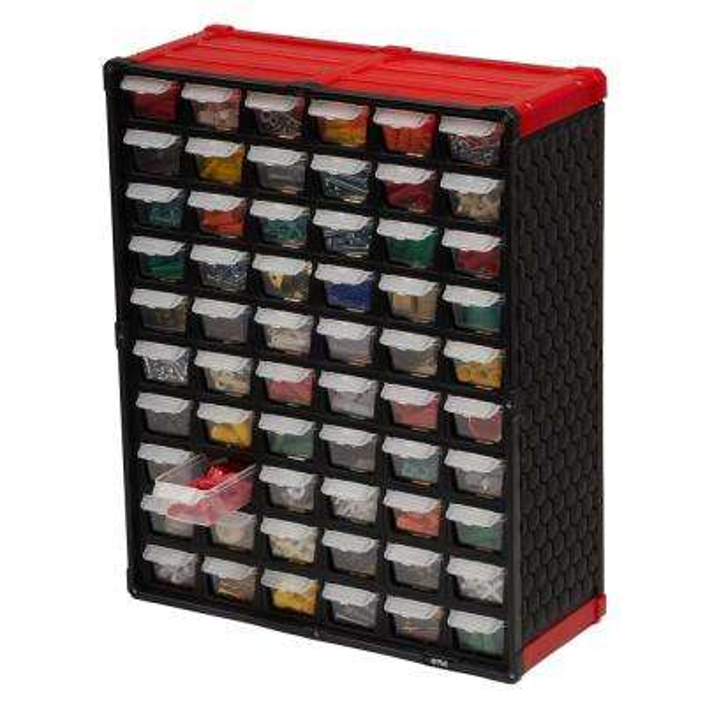 60-Compartment Small Parts Organizer, Red