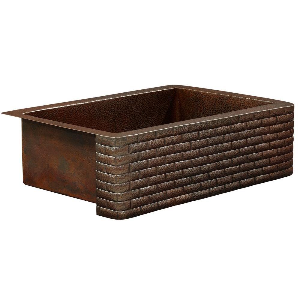 Rodin Farmhouse Apron Front Handmade Pure Solid Copper 33 in. Single Bowl Copper Kitchen Sink with Brick Design