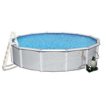 Samoan 24 ft. Round 52 in. Deep 8 in. Top Rail Metal Wall Swimming Pool Package