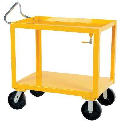 34 in. x 72 in. 4,000 lb. Overall Capacity Ergo Handle Cart with Drain in Yellow