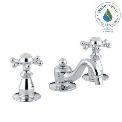 Antique 8 in. Widespread 2-Handle Low-Arc Bathroom Faucet in Polished Chrome with Six-Prong Handles
