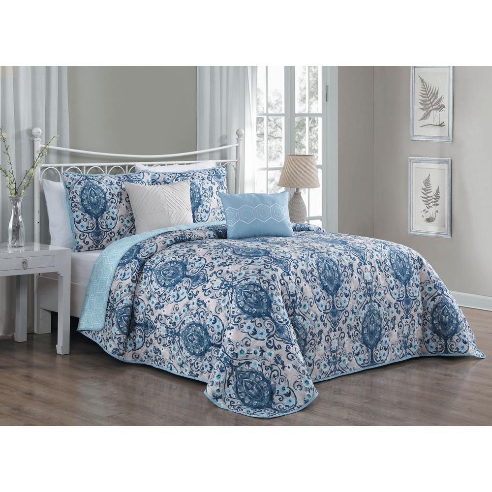 Trista 5-Piece Blue Queen Quilt Set