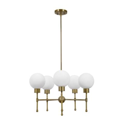 5-Light Antique Brass Mid-Century Modern Chandelier and LED Bulb