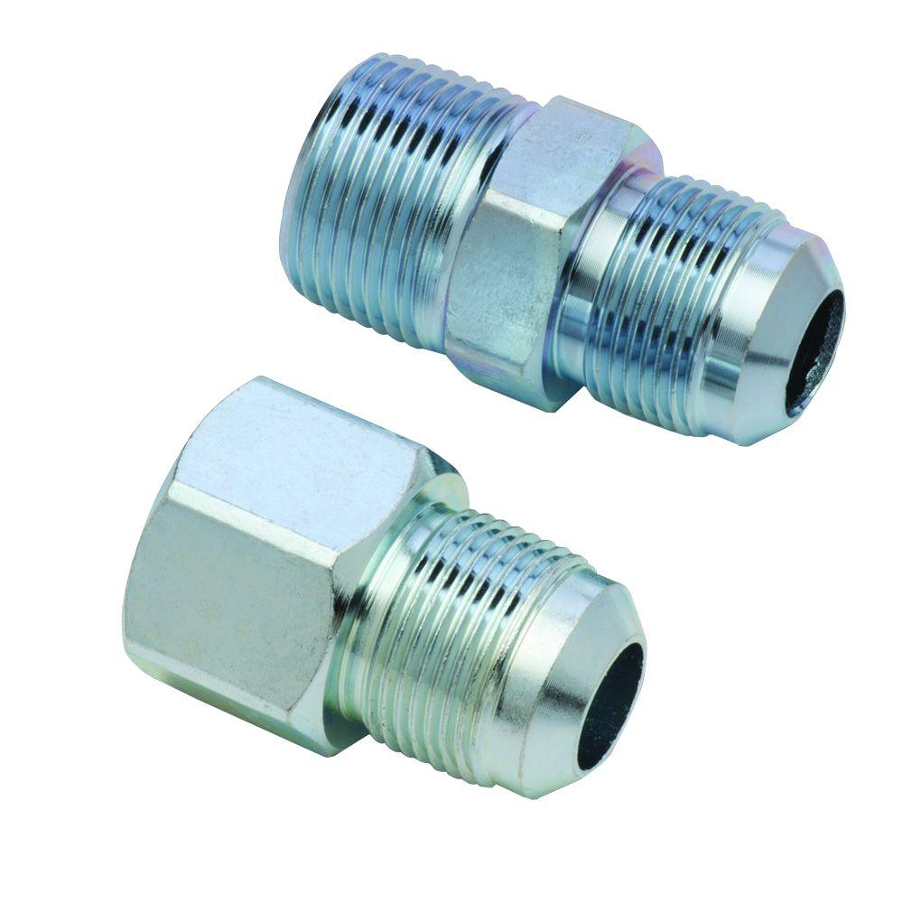BrassCraft 5/8 in. O.D. Flare (15/16-16 Thread) Steel Gas Fitting Kit with 3/4 in. FIP and 3/4 in. MIP (1/2 in. FIP Tap) Connection BrassCraft 5/8 in. O.D. Flare (15/16-16 Thread) Steel Gas Fittings Kit includes (1) 3/4 in. FIP and (1) 3/4 in. MIP with a 1/2 in. FIP tap. Fittings are used with 5/8 in. O.D. gas connectors (CSSC part no. prefix) for appliances with larger BTU demands such as a 5 or 6 burner stove, furnace or boiler. Adapts gas connector nut to appliance inlet or gas supply. The flared end of the fitting connects to the gas connector nut. The female end connects to the gas appliance inlet, gas ball valve or gas supply stub out. These fittings are manufactured from steel and feature a corrosion resistant coating.