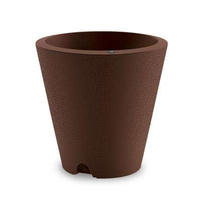 16 in. Vintage Copper Indoor/Outdoor Self-Watering Plastic Container