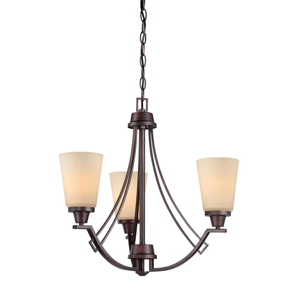 Thomas Lighting Wright 3-Light  Espresso Chandelier With Champagne Glass Shades