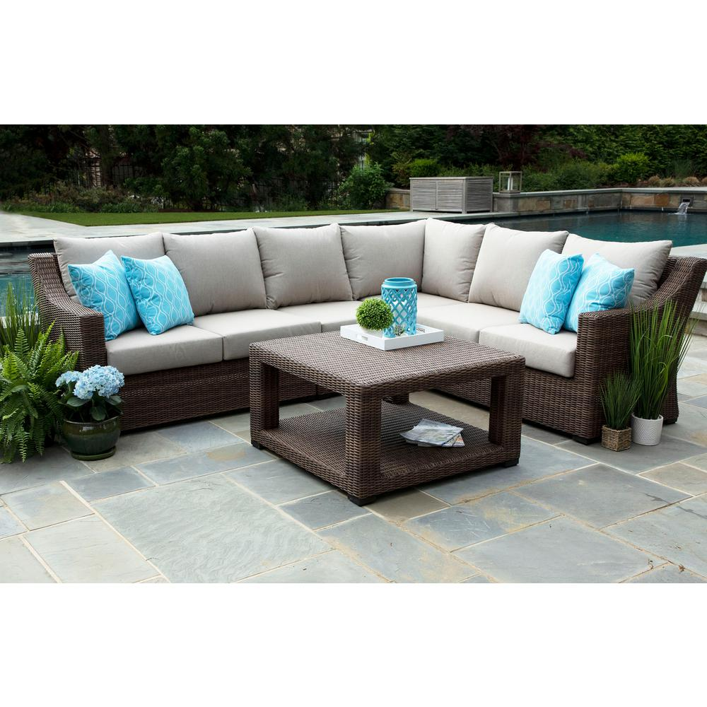 Canopy Alder 5 Piece Resin Wicker Outdoor Sectional With Sunbrella