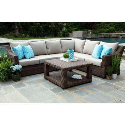 Alder 5-Piece Resin Wicker Outdoor Sectional with Sunbrella Cast Ash Cushions