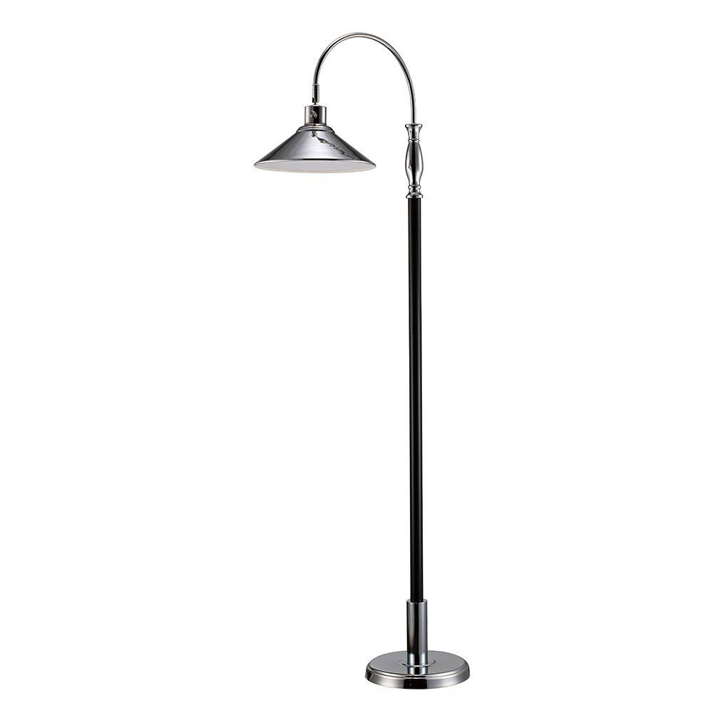 Monteaux lighting 61 in chrome and black led floor lamp for Led floor lamp home depot