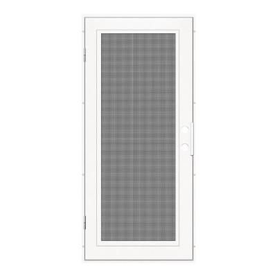 32 in. x 80 in. Full View White Left-Hand Surface Mount Security Door with Meshtec Screen