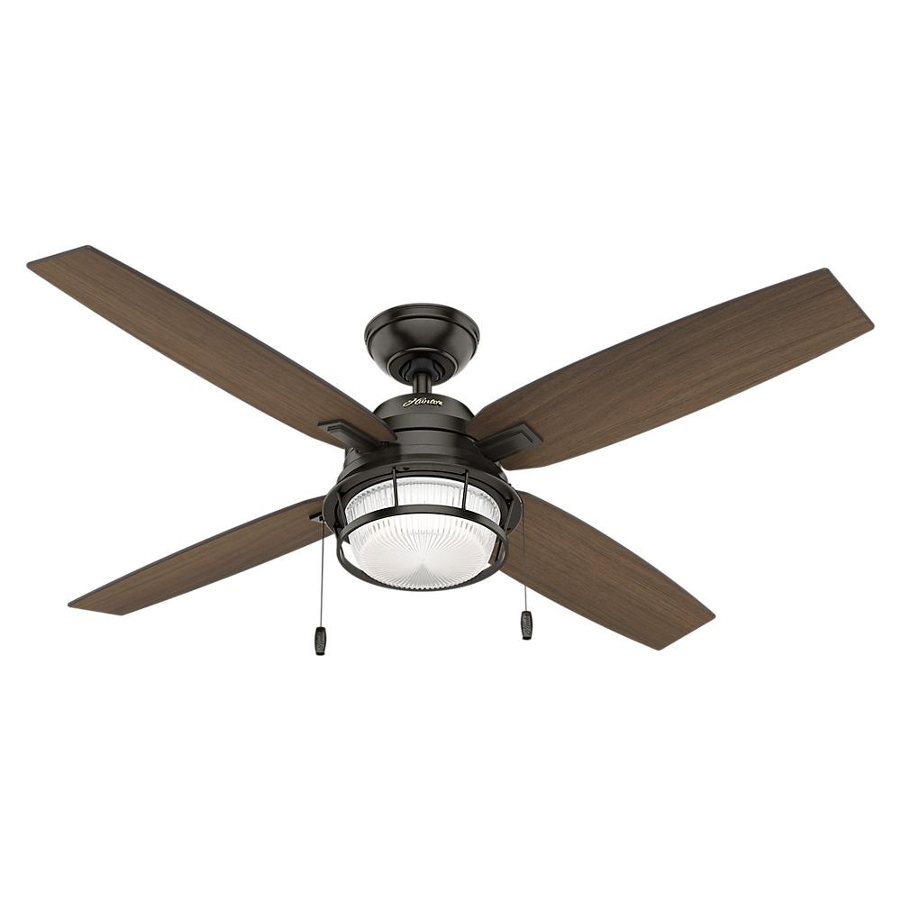 High Speed Outdoor Ceiling Fans: Hunter Ocala 52 In. LED Indoor/Outdoor Noble Bronze