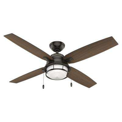 Bronze hunter damp ceiling fans lighting the home depot led indooroutdoor noble bronze ceiling fan with light aloadofball Images