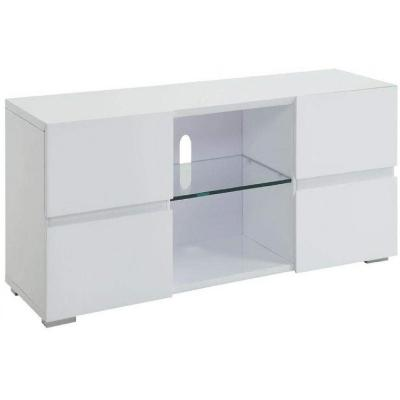 4-Drawer TV Console Glossy White