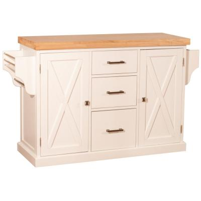 Brigham White Kitchen Island with Natural Wood Top
