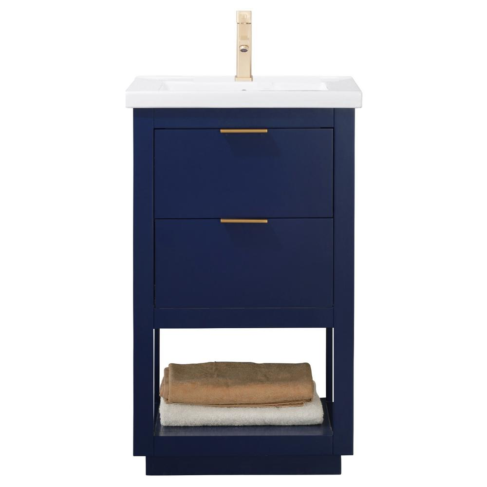 Design Element Klein 20 in. W x 15 in. D Bath Vanity in Blue with Porcelain Vanity Top in White with White Basin