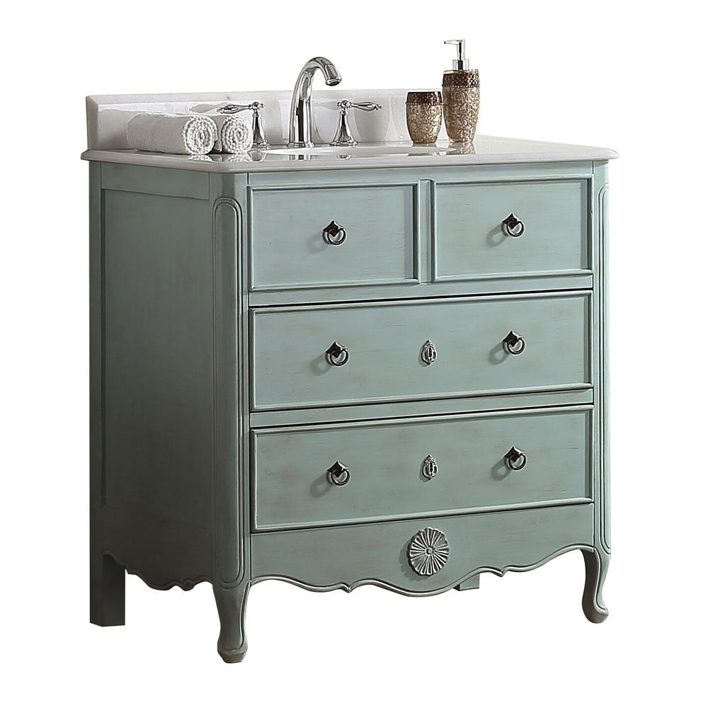 Modetti Provence 34 in. W x 21 in. D Bath Vanity in Light Blue with Marble Vanity Top in White with White Basin