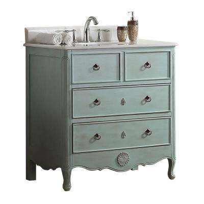 Provence 34 in. W x 21 in. D Bath Vanity in Light Blue with Marble Vanity Top in White with White Basin