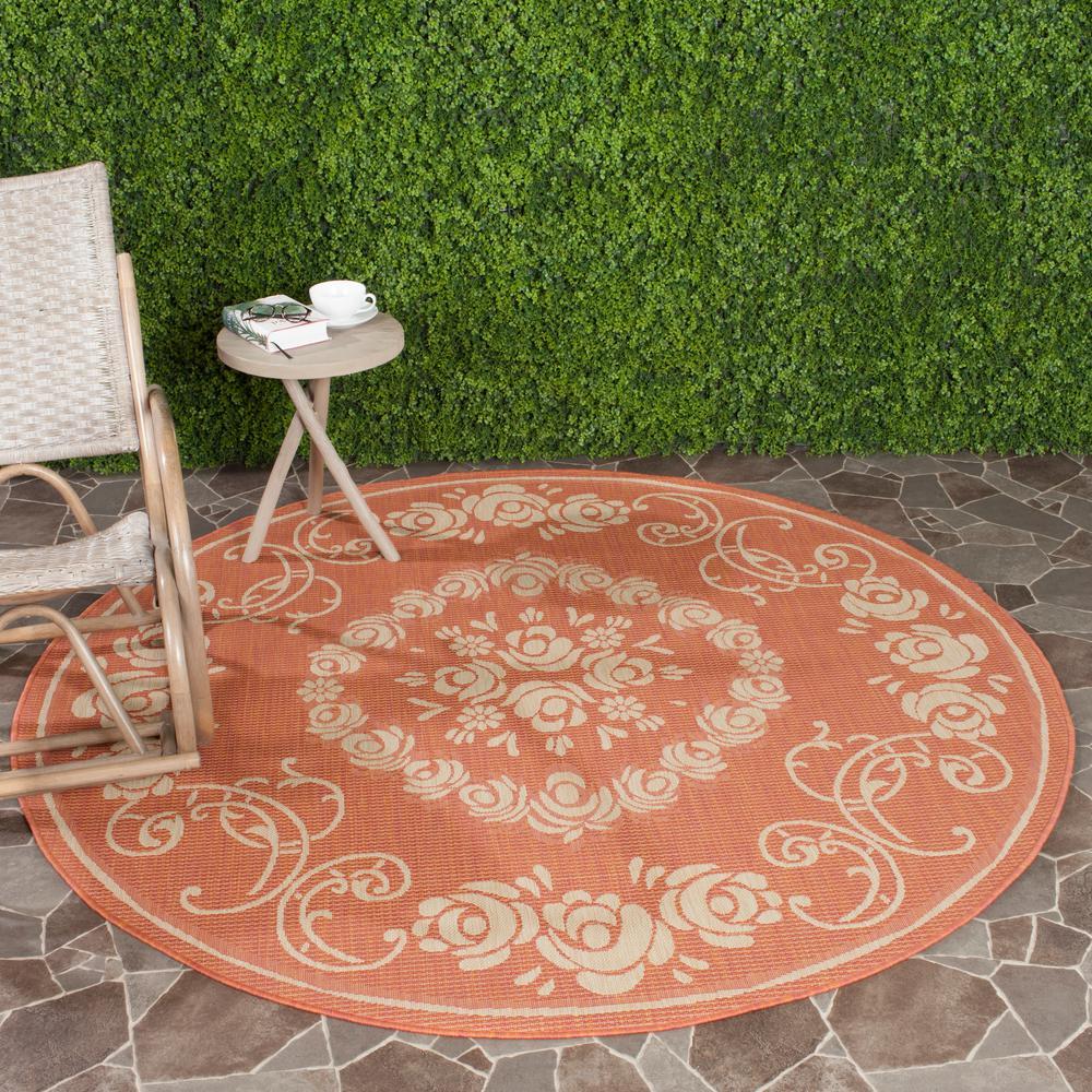 Courtyard Terracotta Natural 5 Ft X Indoor Outdoor Round Area