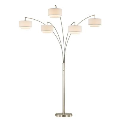 Evita 81 in. Brushed Steel LED Tree Arched Floor Lamp with Dimmer