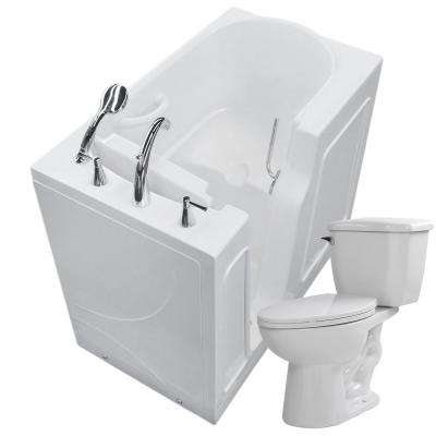 45.75 in. Walk-In Non-Whirlpool Bathtub in White with 1.28 GPF Single Flush Toilet