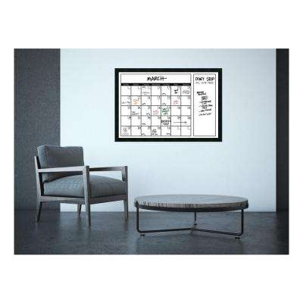 White Calendar 38 in. W x 26 in. H Framed Glass Dry Erase Board