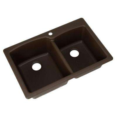 Dual Mount Composite Granite 33 in. 1-Hole Double Bowl Kitchen Sink in Mocha
