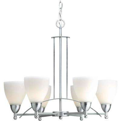 6-Light Brushed Nickel Chandelier with Satin Opal Glass