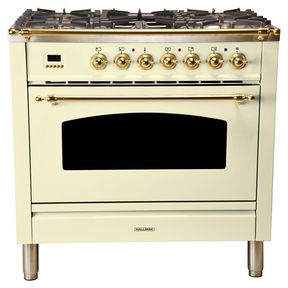 36 in. 3.55 cu. ft. Single Oven Italian Gas Range True Convection,5 Burners, LP Gas, Brass Trim in Antique White