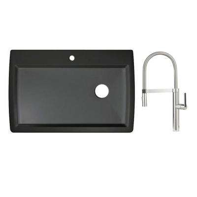 Diamond Dual Mount Granite Composite 33 in. 1-Hole Single Bowl Kitchen Sink in Anthracite with Faucet in Polished Chrome