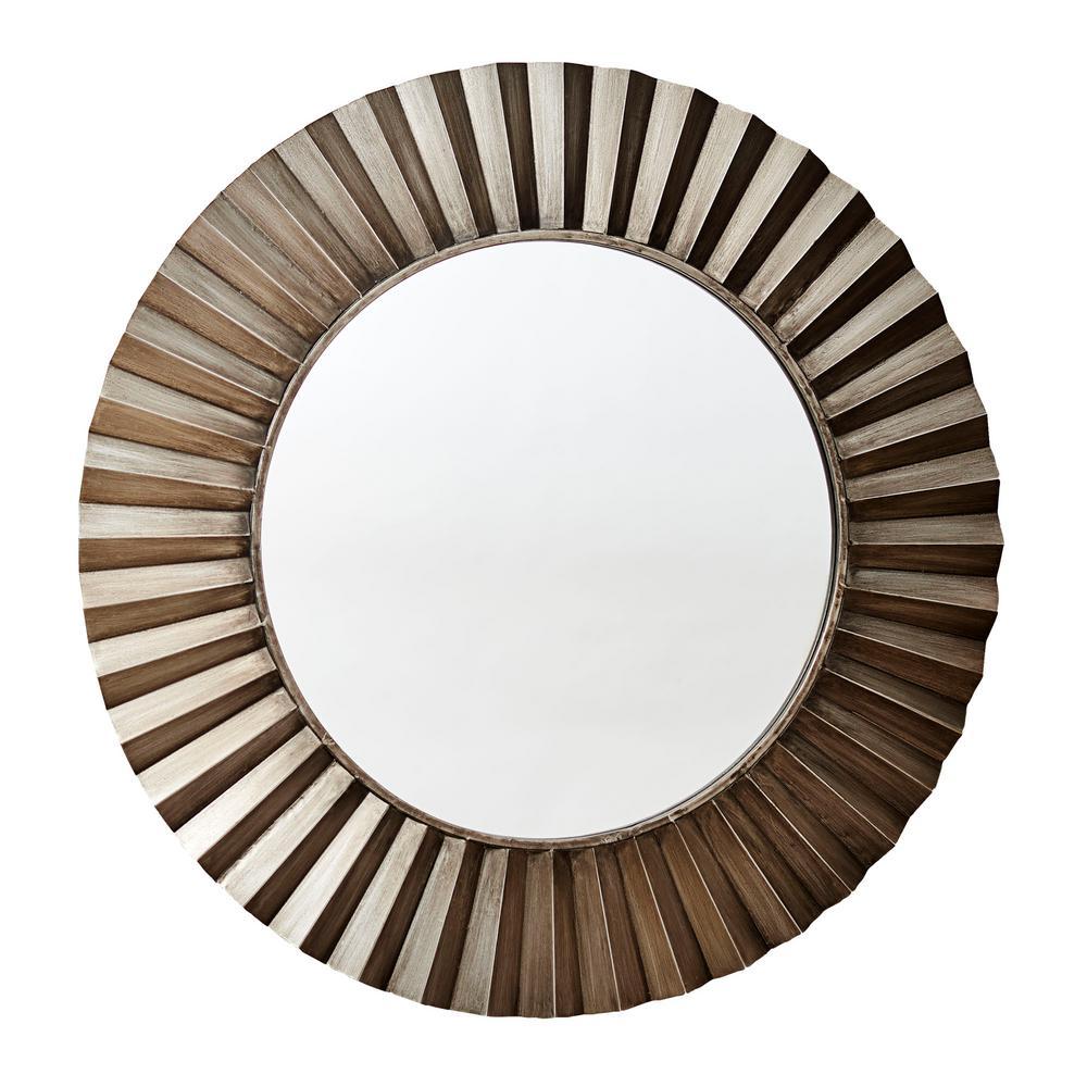 Medium Round Bronze Contemporary Mirror (37 in. H x 37 in. W)