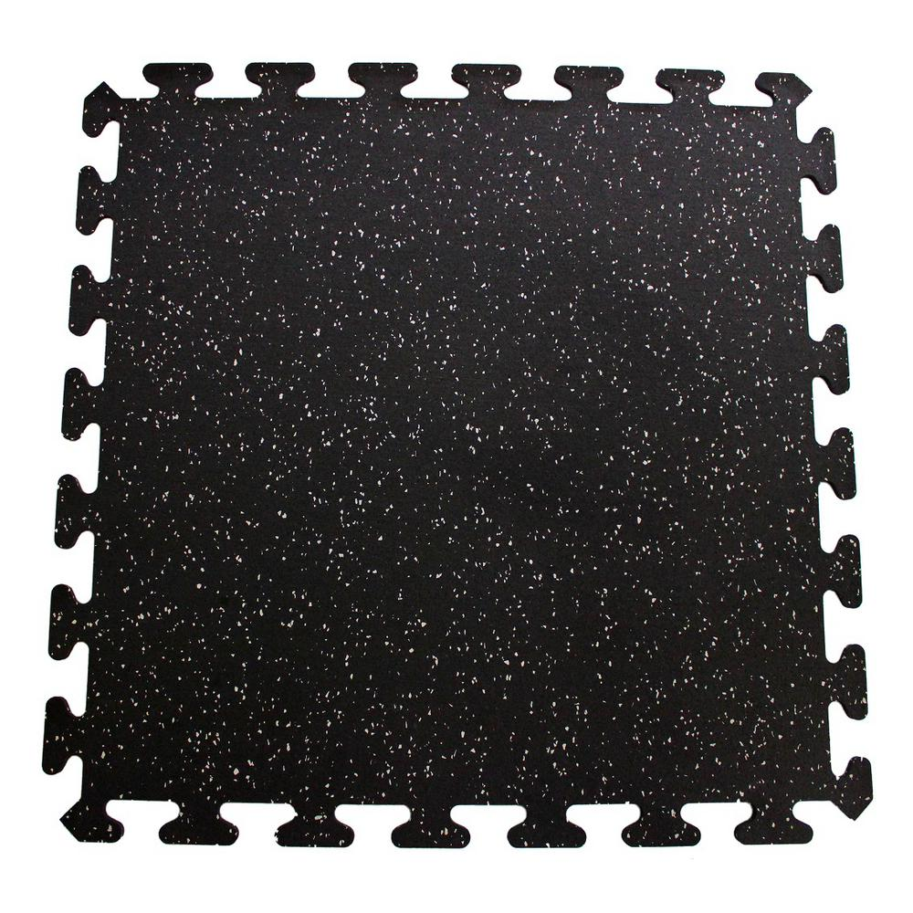Black with Gray Speck 24 in. x 24 in. Interlocking Recycled